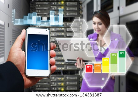 Programmer and digital file report - stock photo