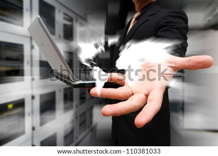 Programmer control the world  from data center room - stock photo