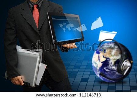 Programmer got folder download from the world : Elements of this image furnished by NASA - stock photo