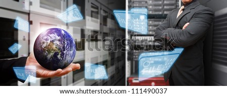 Programmer in data center room and keep the file system from the world : Elements of this image furnished by NASA - stock photo