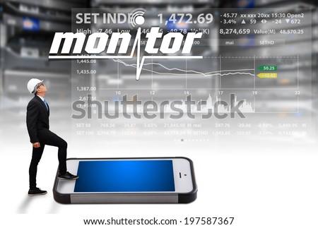 Programmer monitoring system in data center room - stock photo