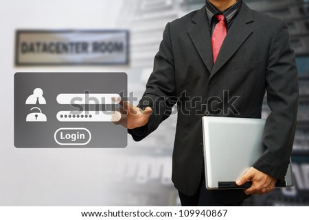Programmer touch on Login window activated - stock photo