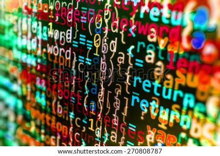Programming coding source code screen of program developer. Abstract data bits stream background. Digital cyber pattern. Green, blue, red color. - stock photo