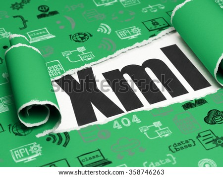 Programming concept: black text Xml under the piece of  torn paper - stock photo