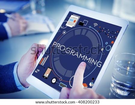 Programming Digital Computer Program Media Software Concept - stock photo