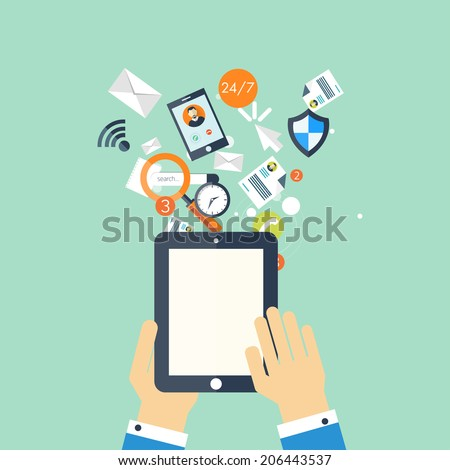 Programming flat cloud computing and social media background. Data storage network technology. Multimedia content and web sites hosting. SEO.Internet and global communication.Digital devices. - stock photo