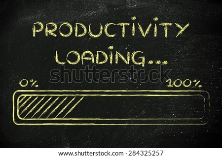 progress bar, funny design with concept of productivity loading - stock photo