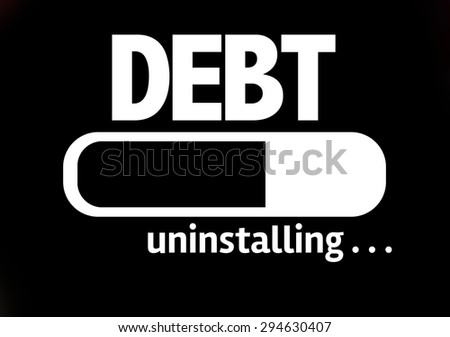 Progress Bar Uninstalling with the text: Debt - stock photo
