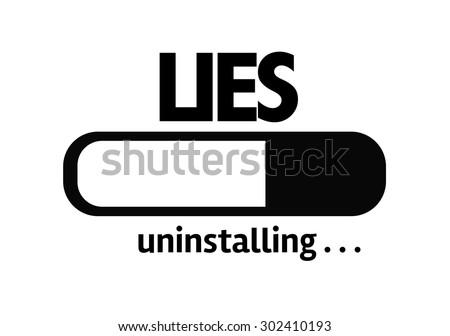 Progress Bar Uninstalling with the text: Lies - stock photo