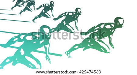 Progress in Business as a Competition Race 3D Illustration Render - stock photo