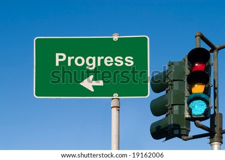 Progress Traffic Sign with Green light - stock photo