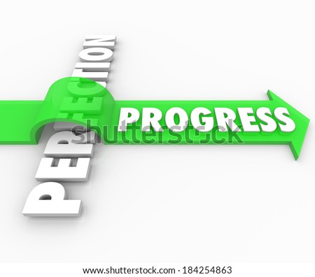 Progress Word Arrow Over Perfection Moving Ahead - stock photo