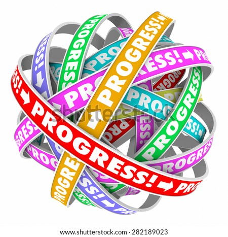 Progress word on a cycle of spirals to illustrate continuous improvement and forward momentum or innovation - stock photo
