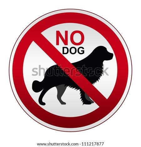 Prohibited Circle Silver Metallic No Dog Allowed Isolated on White Background - stock photo