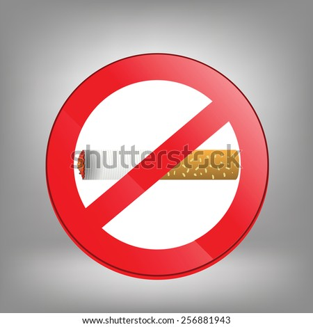 Prohibition sign on grey background. No smoking sign. Sign showing no smoking is allowed. No smoking mark. Smoking prohibited symbol isolated on grey background. - stock photo