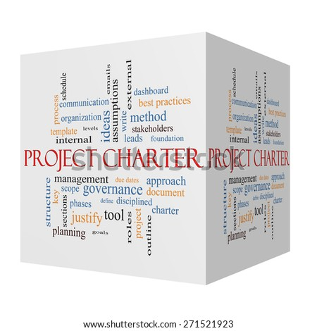 Project Charter 3D cube Word Cloud Concept with great terms such as process, leads, method and more. - stock photo