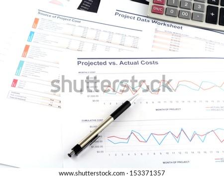 Project data work sheet - stock photo