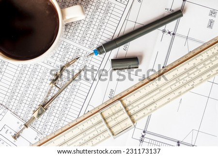 Project development, pause for a cup of coffee - stock photo
