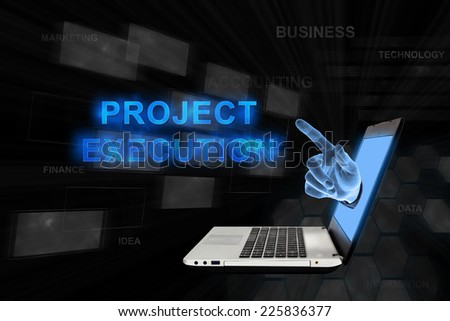 project execution word from laptop with digital background - stock photo