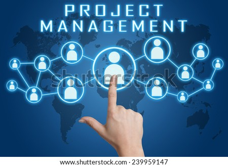 Project Management concept with hand pressing social icons on blue world map background. - stock photo