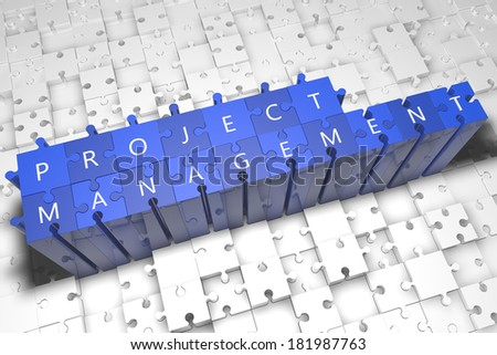 Project Management - puzzle 3d render illustration with text on blue jigsaw pieces stick out of white pieces - stock photo