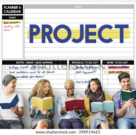 Project Management Strategy Process Planning Organization Concept - stock photo