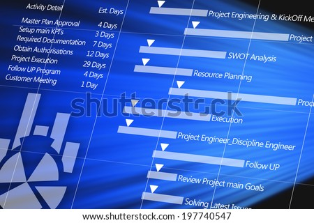 Project plan detail on digital display - stock photo