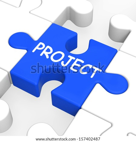 Project Puzzle Showing Plan Mission Or Task - stock photo
