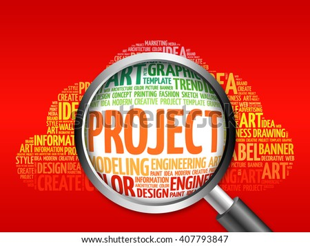 PROJECT word cloud with magnifying glass, business concept - stock photo