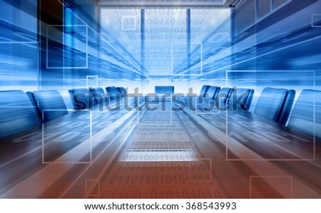 projection of digital meeting room, modern office - stock photo
