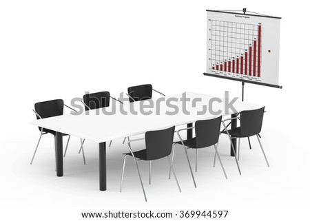 Projection Screen with Business Chart, Table and Chairs on a white background - stock photo