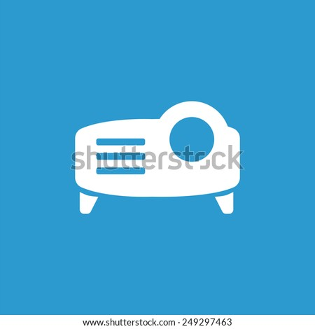 projector icon, isolated, white on the blue background. Exclusive Symbols  - stock photo