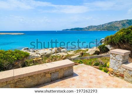 Promenade along a coast of Sardinia island near Spiaggia del Riso beach, Italy  - stock photo