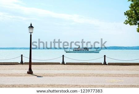 Promenade at Lake Balaton(Balatonf�¼red),Hungary, - stock photo