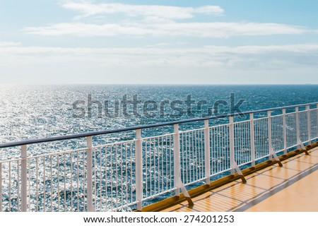 Promenade deck on the cruise ship - stock photo