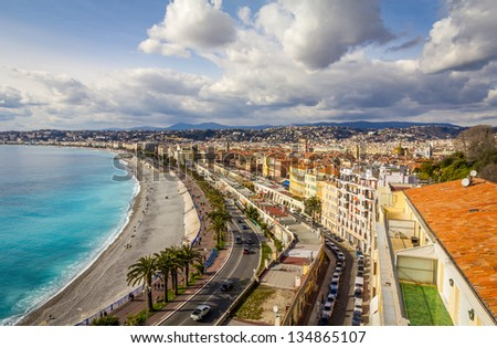 Promenade des Anglais in Nice, France - stock photo