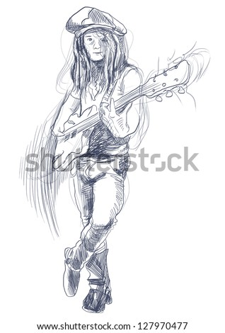 Promising guitarist - young rocker. /// A hand drawn illustration of an excellent guitar player. /// Outlines in shades of gray and blue on white background. - stock photo