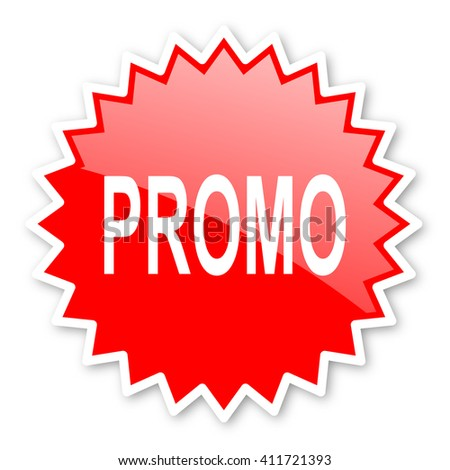 promo red tag, sticker, label, star, stamp, banner, advertising, badge, emblem, web icon - stock photo