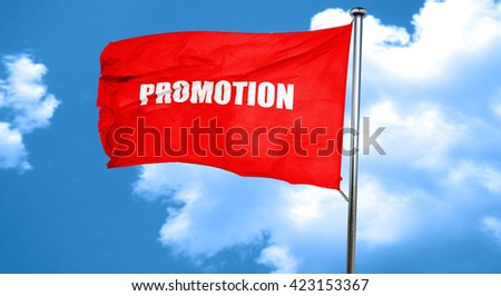 promo sign background, 3D rendering, a red waving flag - stock photo