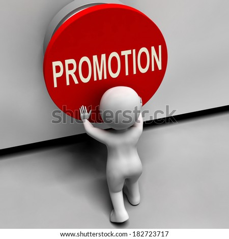 Promotion Button Showing New And Higher Role - stock photo