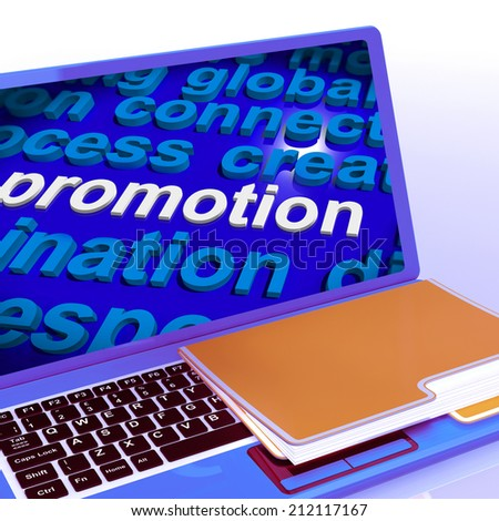 Promotion Word Cloud  Laptop Showing Discount Bargain Or Mark down - stock photo