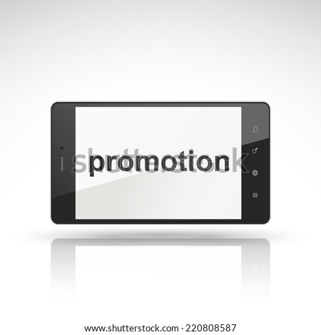 promotion word on mobile phone isolated on white - stock photo
