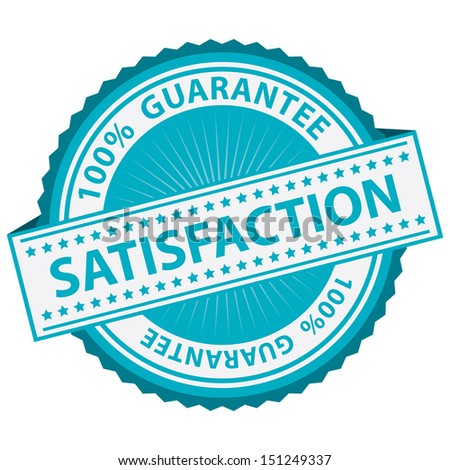 Promotional Sale Tag, Sticker or Badge, Present By Blue Satisfaction Label With 100 Percent Guarantee Text Around Isolated on White Background  - stock photo