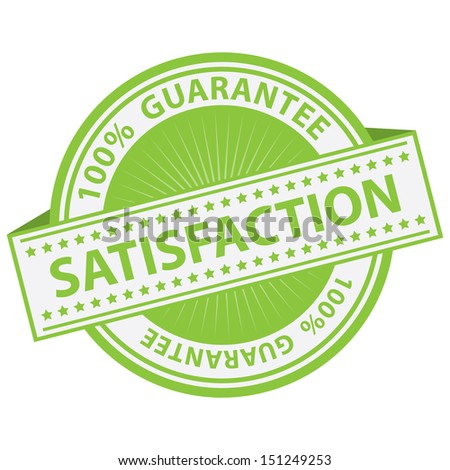 Promotional Sale Tag, Sticker or Badge, Present By Green Satisfaction Label With 100 Percent Guarantee Text Around Isolated on White Background  - stock photo