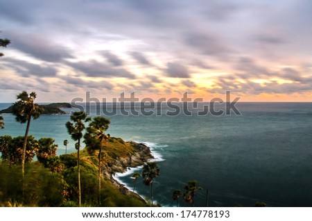 Promthep Cape, Phuket in southern Thailand - stock photo