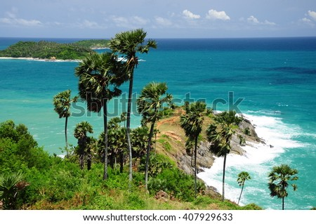 Promthep Cape the attractions of Phuket. Thailand - stock photo