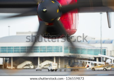 Propeller airplane at the airport, Prague - stock photo
