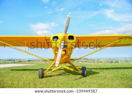 Propeller vintage airplane - stock photo