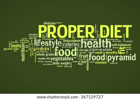 Proper diet and healthy food diet concepts word cloud illustration. Word collage concept. - stock photo