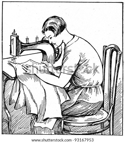 proper sitting at a sewing machine - an illustration of the ABC sewing, Peasant Newspaper Publishers, Moscow, USSR, 1931 - stock photo